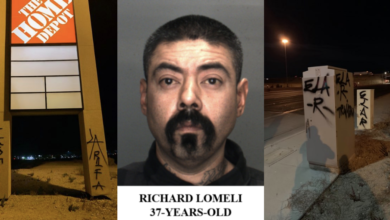 "Photo of Police arrest 37-year-old man caught tagging ""East LA Rifa"" in Barstow"